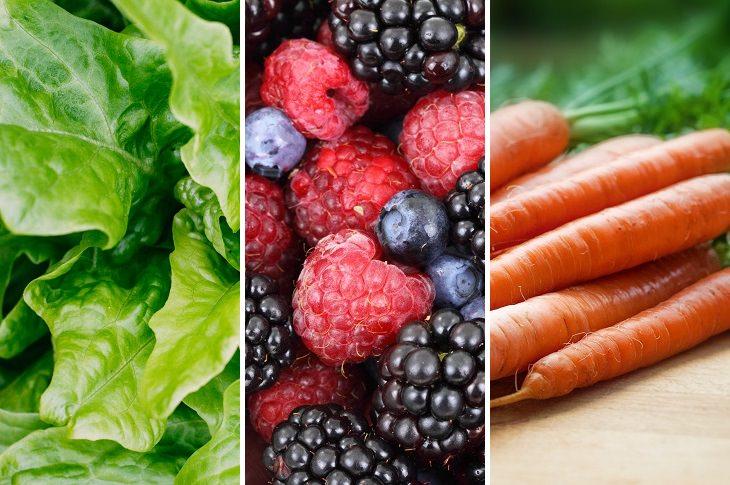 אחסון נכון של פירות וירקות: גזרים, פירות יער ועלי חסה