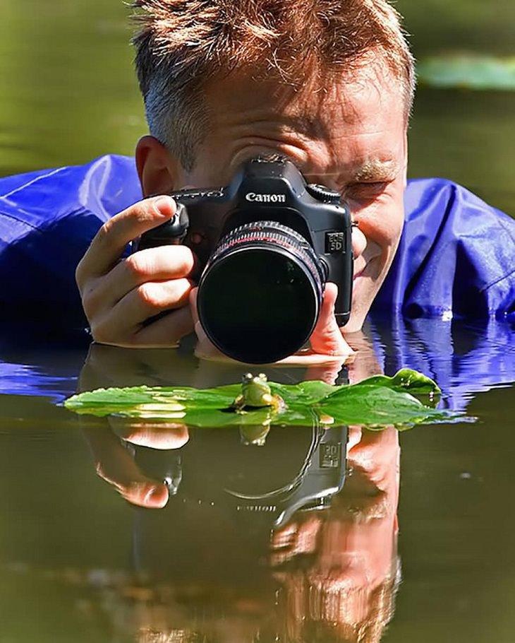 תמונות יפות: צלם מצלם צפרדע