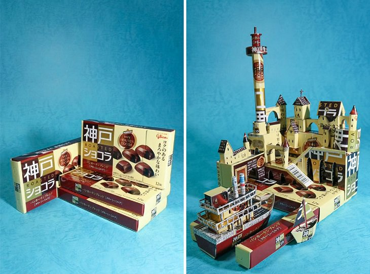 יצירות מאריזות משומשות: עיר נמל עם מבצרים וספינה