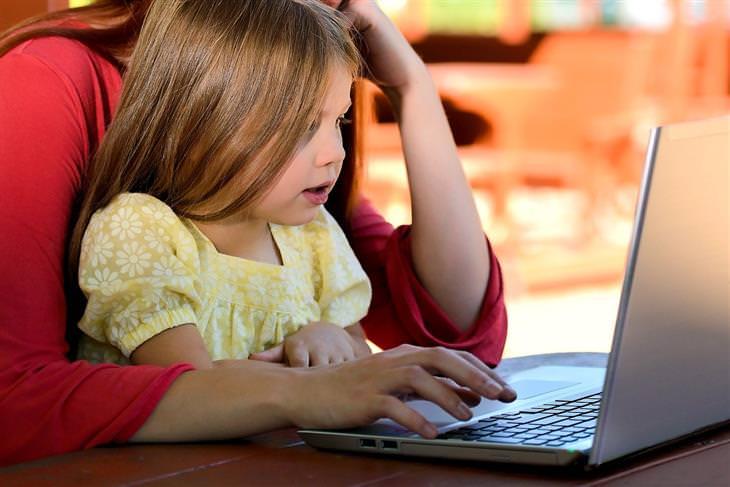 איך לפתח חוסן נפשי אצל ילדים: אימא וילדה מול מחשב
