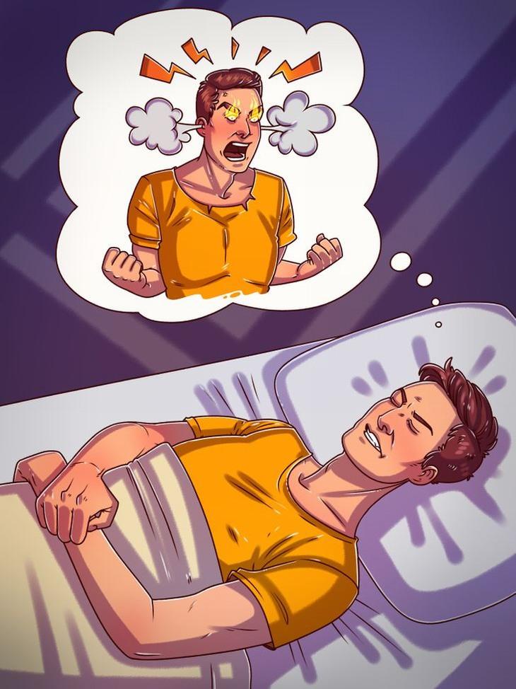 למה אסור לישון כועסים: איש ישן ומדמיין את עצמו כועס