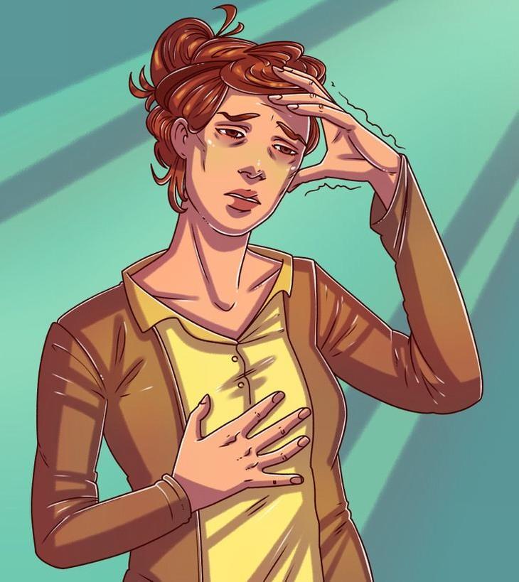 למה אסור לישון כועסים: אישה אוחזת בראשה ובחזה שלה