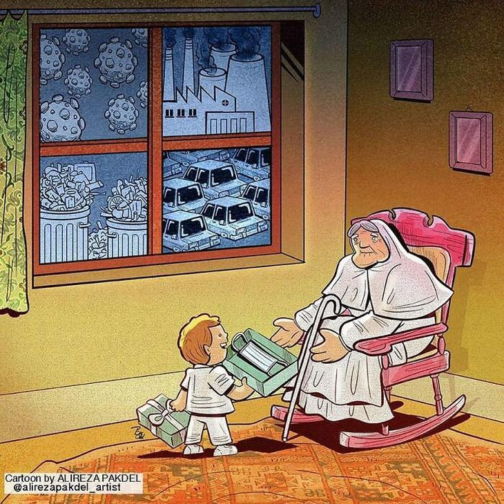 קריקטורות על המציאות: סבתא מקבלת מסכת פנים במתנה מהנכד שלה