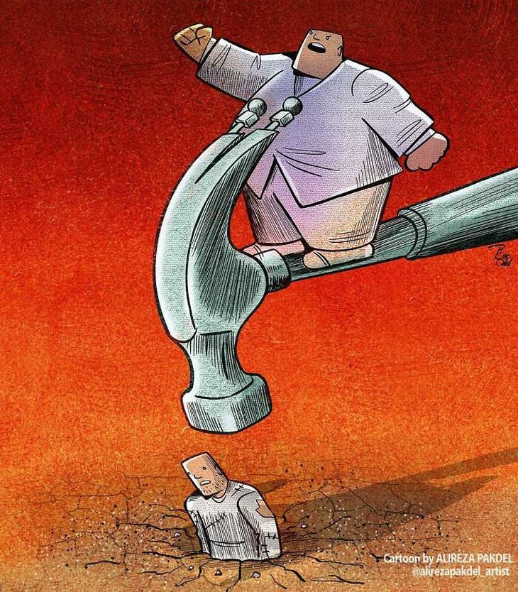קריקטורות על המציאות: פוליטיקאי עומד על פטיש שדופק ראש של אדם שתקוע באדמה