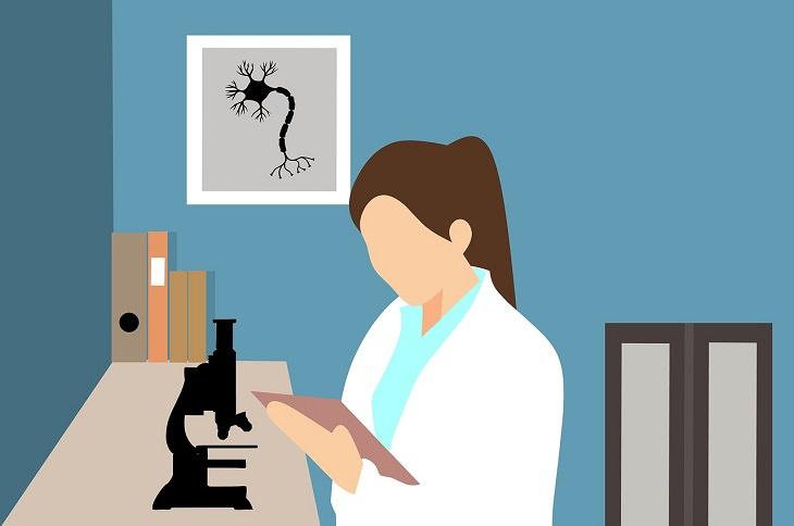 מחקר על פעולתם של נגיפים בגוף: ציור של חוקרת במעבדה