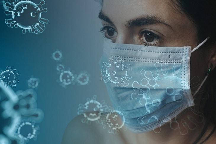 מחקר אמריקאי אודות קורונה: בחורה עם מסכה, וברקע נגיפי קורונה