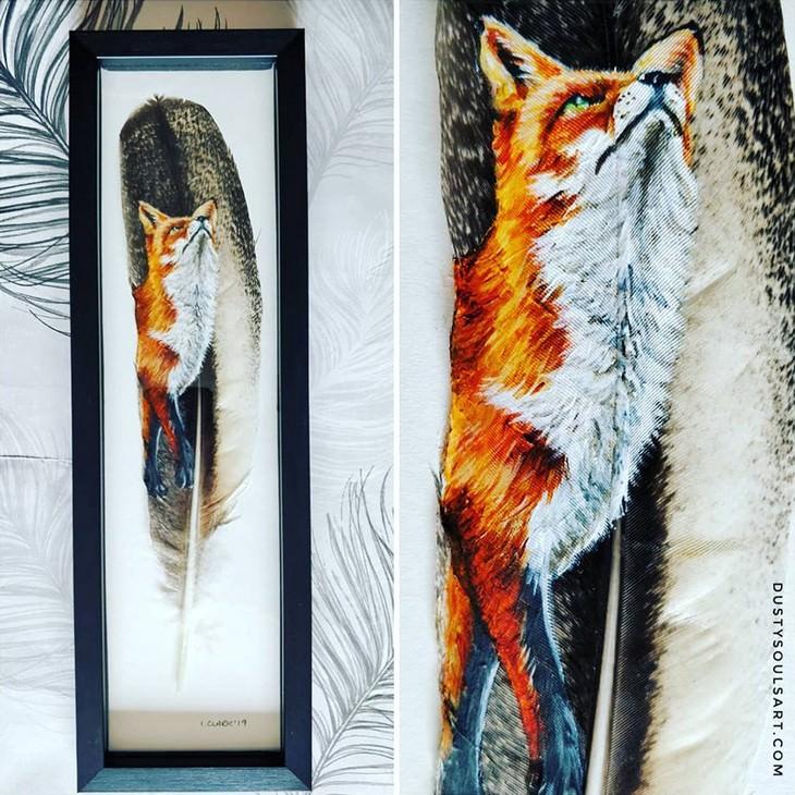 ציורי חיות על נוצות: שועל