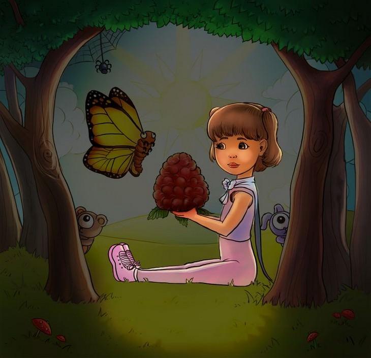 מבחן אישיות - מה אתם רואים בתמונה של הילדה עם הפטל הענק: ילדה מודגשת