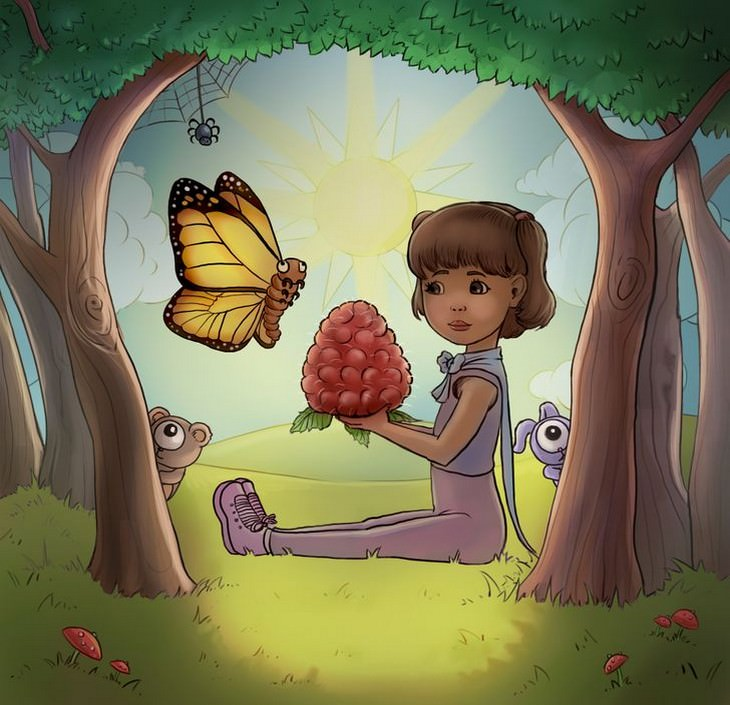 מבחן אישיות - מה אתם רואים בתמונה של הילדה עם הפטל הענק: ילדה עם פטל הענק