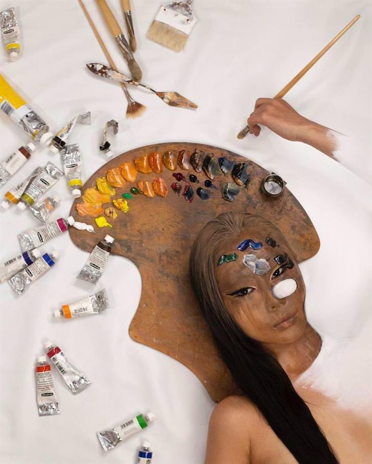 אומנית שיוצרת אשליות אופטיות על הגוף שלה: דאיין יון ביצירה על פלטת צבעים