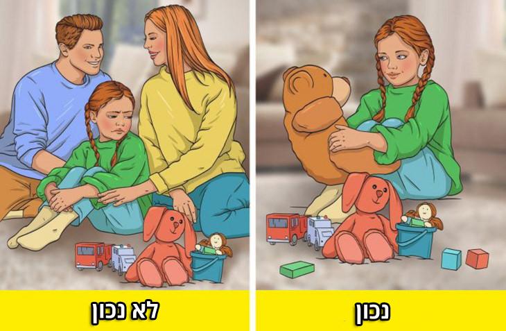 טעויות בחינוך ילדים: ילדה מחייכת שמשחקת ליד עם דובי, וילדה עצובה שנמצאת עם הוריה