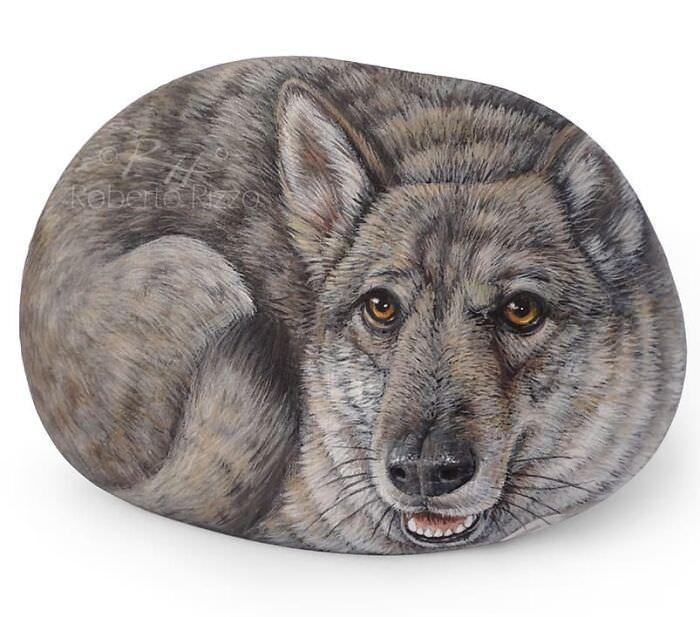 אבנים עם ציורי חיות: זאב