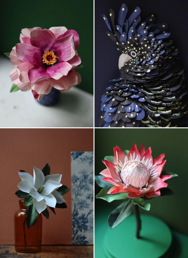 פרחים וחיות נייר: יצירות מנייר