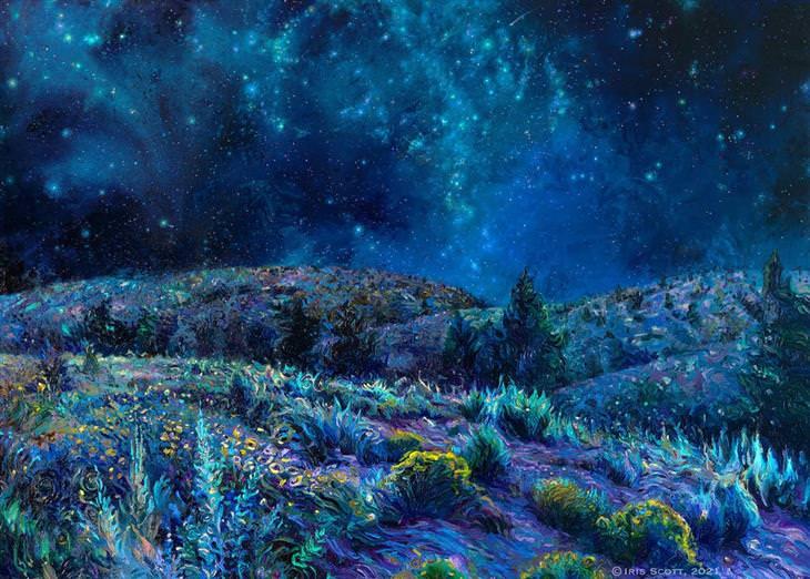 ציורים מדהימים מצבעי אצבע: גבעות מתחת לשמי לילה