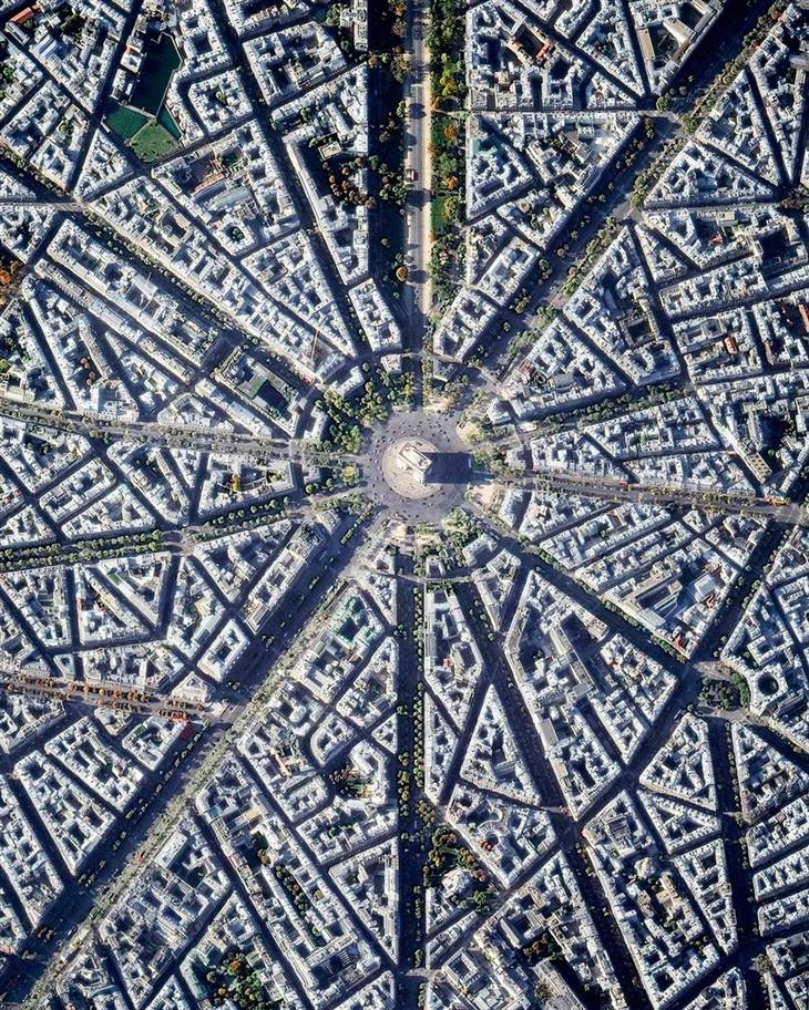 נופים עירוניים ממעוף הציפור: שער הניצחון בפריז
