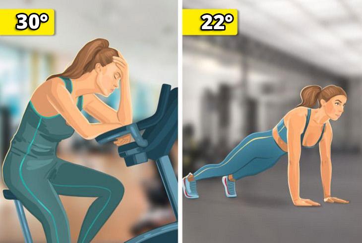 הטמפרטורה המושלמת: אישה עושה שכיבות סמיכה ב-22 מעלות, ואישה יושבת מותשת על אופני כושר ב-30 מעלות