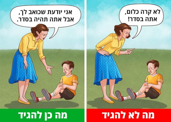 דברים שאסור ושמותר להגיד לילדים: אימא וילד שכואבת לו הברך