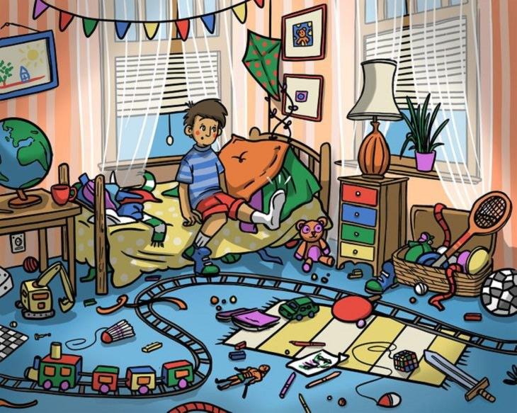תמונות עם פרטים שצריך למצוא: ילד עם נעל אחת בחדר מבולגן