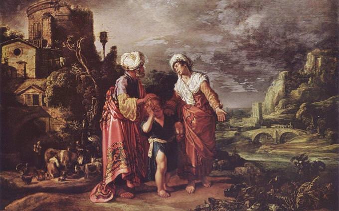 """מבחן היכרות עם גיבורי התנ""""ך: ציור של אברהם, הגר ובנם"""
