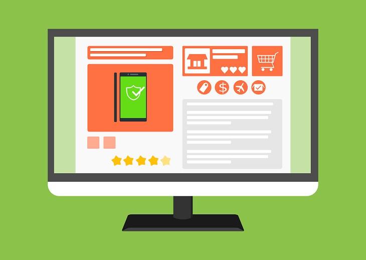 מדריך ליצירת CTA: איור של מסך מחשב עם אתר אינטרנט שיווקי עליו