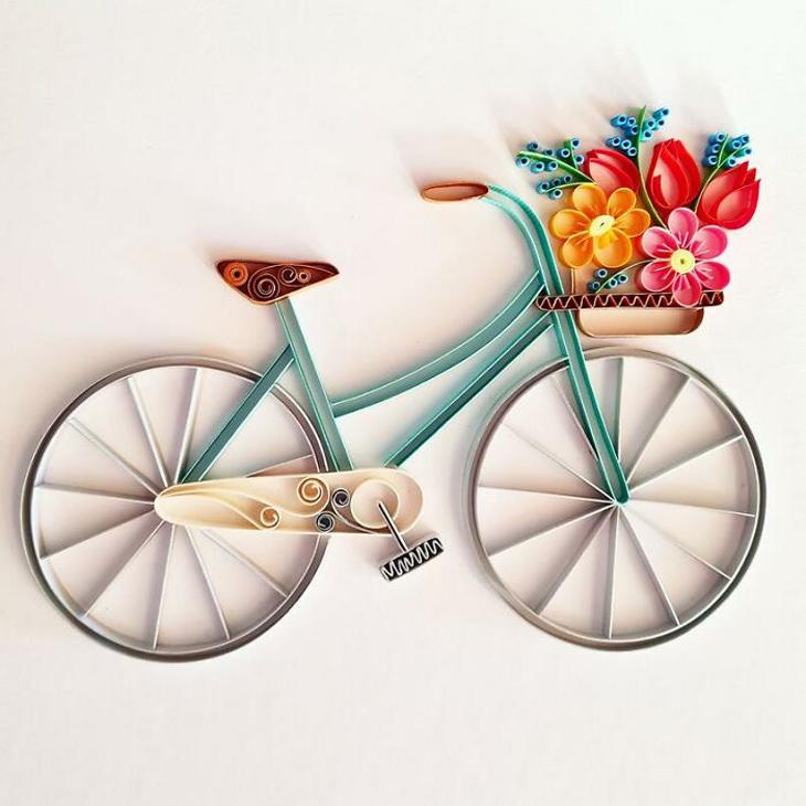 יצירות נייר בטכניקה מיוחדת: אופניים מנייר