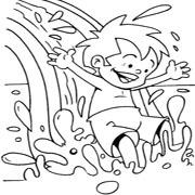 דפי צביעה בנושא מים: ילד מתגלש על מים
