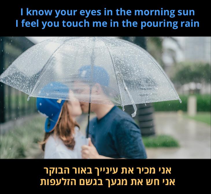 """תרגום לשיר How Deep Is Your Love: """"אני מכיר את עינייך באור הבוקר, אני חש את מגעך בגשם הזלעפות"""""""