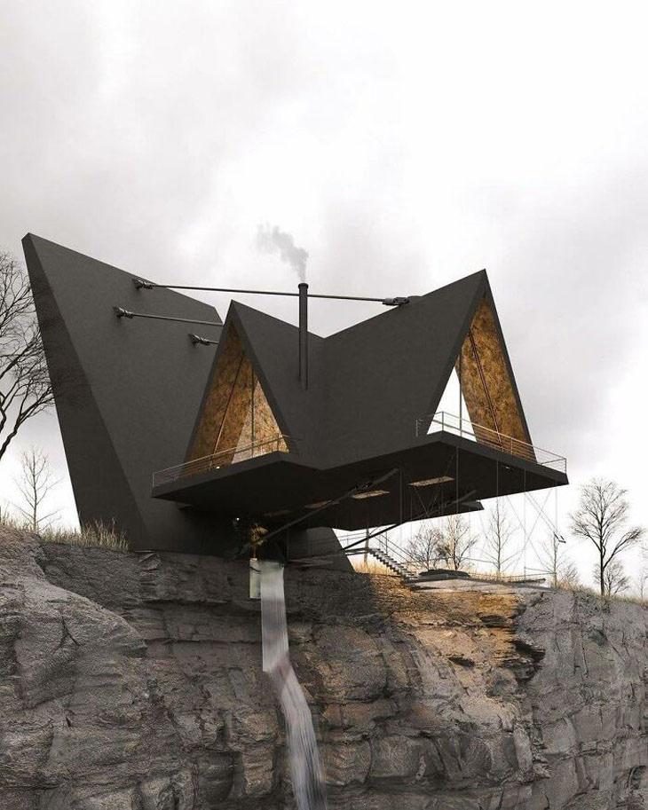 בניינים בעיצוב משונה: בית שמוצב על פי תהום