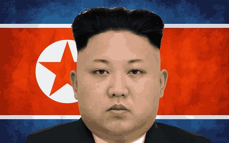 בדיחה על צפון קוריאה: מנהיג צפון קוריאה על רקע הדגל שלה