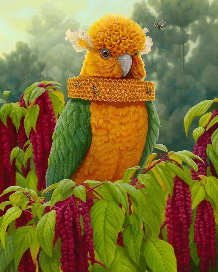 ציורי בעלי חיים סוריאליסטים: ציור של תוכי עם דבורים מסביבו