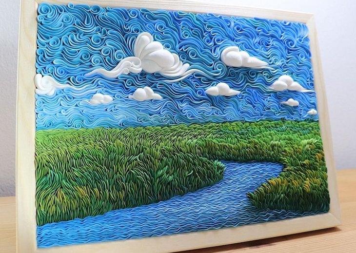 תמונות נוף מחימר פולימרי: שדה שבמרכזו עובר נהר