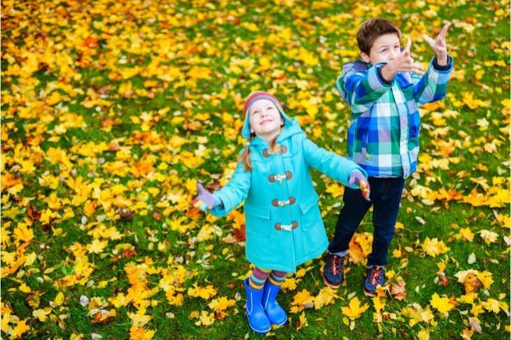 דרכים לעזור לילד להסתגל לאח חדש: ילדים מעיפים עלים צהובים בפארק