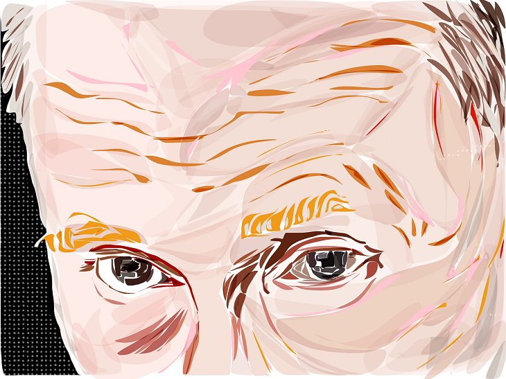 בדיחה על מסיבת עיתונאים עם ולדימיר פוטין: איור של עיניו של ולדימיר פוטין