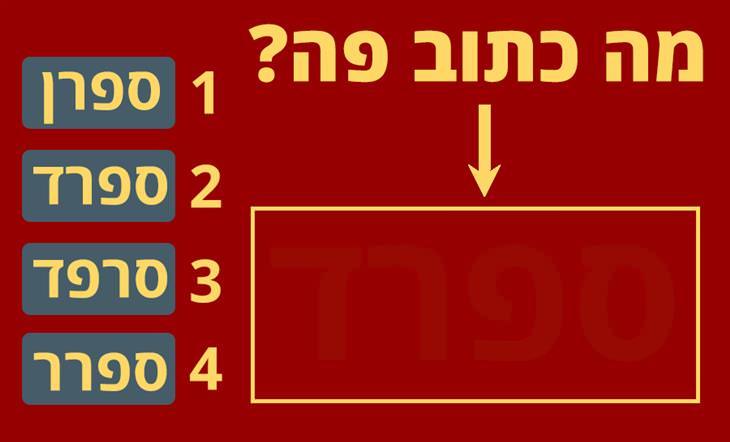 """אוסף מבחני ראייה, זיכרון והבחנה חזותית: תמונה אדומה ובה הכיתוב """"מה כתוב פה"""" עם 4 אפשרויות"""