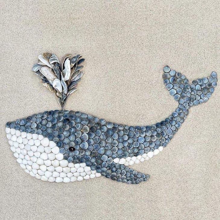 פסיפסים של בעלי חיים מצדפים: לווייתן