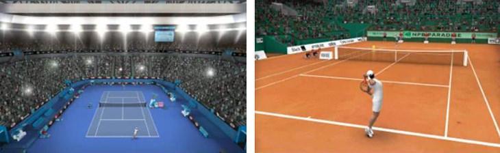 משחקי ספורט לסמארטפון: צילומי מסך של משחק טניס