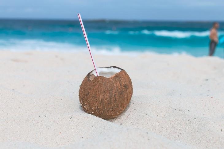 מי קוקוס: קוקוס עם קשית על חוף ים