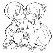 דפי צביעה לילדים על אהבה: ילד וילדה מתנשקים
