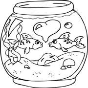 דפי צביעה לילדים על אהבה: זוג דגים מתנשקים באקווריום