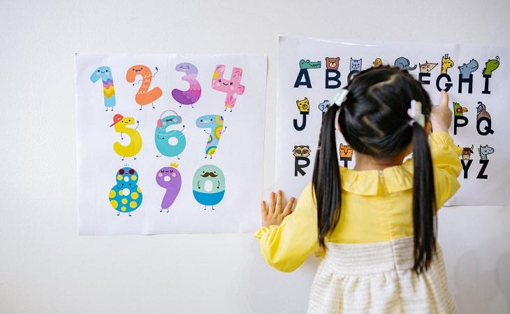 מחקר על הצלחה של ילדים: ילדה מול לוח עם דפים של מספרים ואותיות