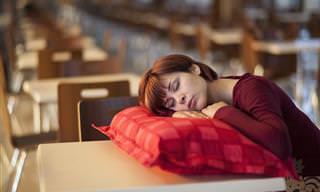 אוסף כתבות בנושא שינה: אישה ישנה על כרית שניצבת על שולחן