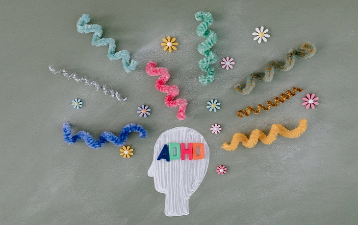 סוגי הפרעות קשה וריכוז: דגם של ראש שכתוב בתוכו ADHD  וקווים ופרחים מסביבו