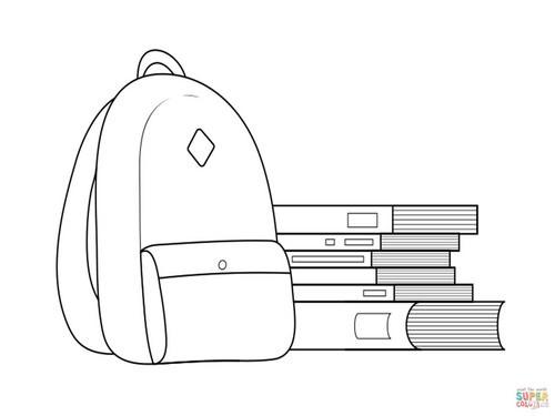 24 דפי צביעה לקראת כיתה א': תיק וספרים