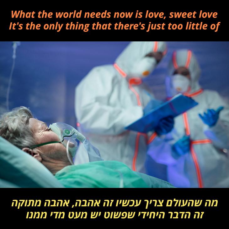 תרגום לשיר What the World Needs Now Is Love: מה שהעולם צריך עכשיו זה אהבה, אהבה מתוקה זה הדבר היחידי שפשוט יש מעט מדי ממנו