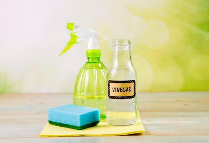 מטהר אוויר טבעי על בסיס חומץ: בקבוק תרסיס, חומץ וספוג