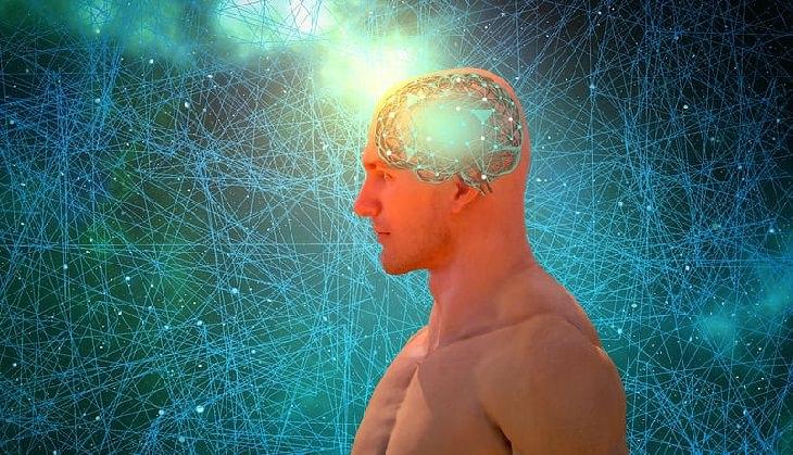מחקר על שיפור הזיכרון: אדם עם רשת עצבים בתוך המוח מוקף ברשתות עצבים