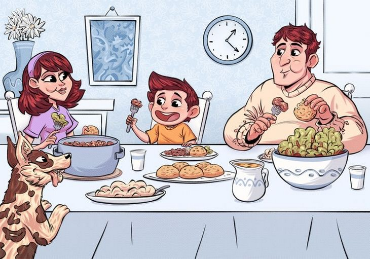 מציאת פרצופים בתמונות: ארוחת ערב משפחתית