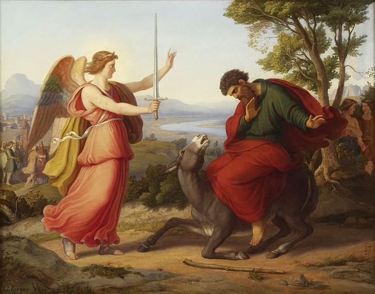"""עובדות וסיפורים מהתנ""""ך: ציור של בלעם על אתונו ומלאך ה'"""