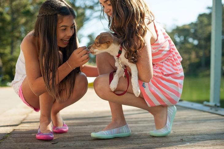 כיצד לפתח גמישות מחשבתית אצל ילדים: ילדות מחזיקות גור כלבים ומשחקות איתו
