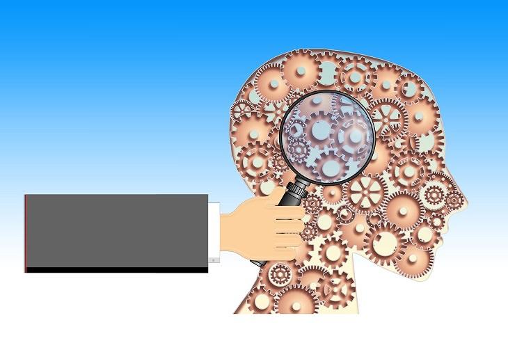 מחקר על תפקודי מוח משתפרים בעת זקנה: איור של מוח כגלגלי שיניים ויד מקרבת זכוכית מגדלת אליו